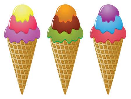 vector colorful icecream cones Stock Vector - 6386296