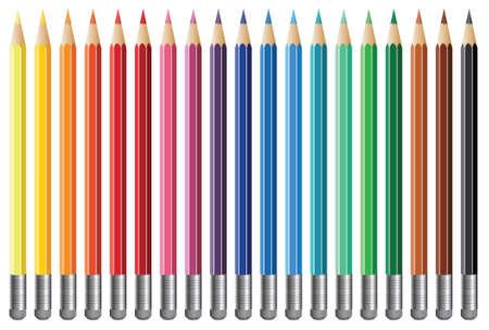 nineteen: diciannove vettoriale matite colorate con gomma Vettoriali