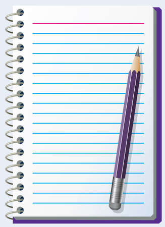 lined: illustration of note pad with pencil Illustration