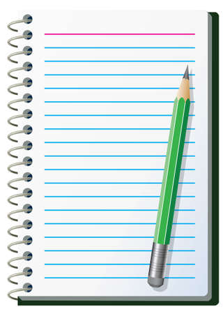 notebook paper background: illustration of note pad with pencil Illustration