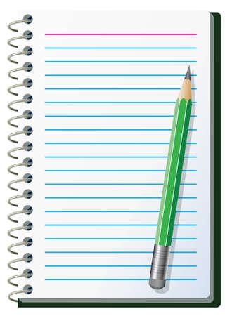 Ilustración de la almohadilla de la nota con lápiz