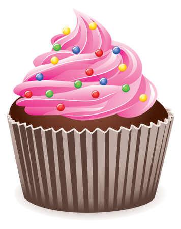 cupcake Rosa  Ilustración de vector