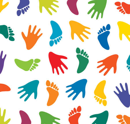 feet and hands of many colors Vector