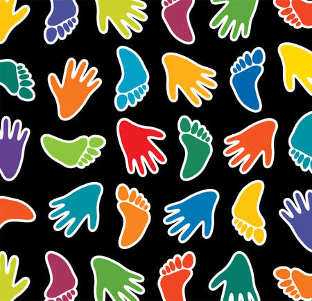 colorful feet and hands on black background Vector