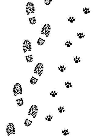 foot marks: foot prints of man and dog