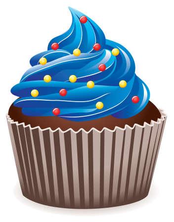 jednolitego: niebieski cupcake  Ilustracja