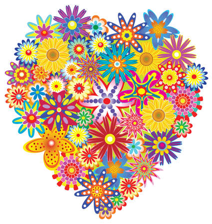 floral heart made of colorful flowers Stock Vector - 6533135