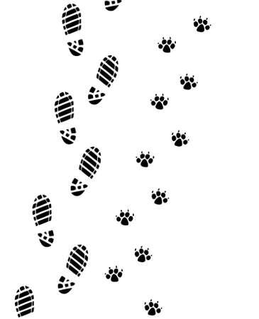 foot prints of man and dog  Vector