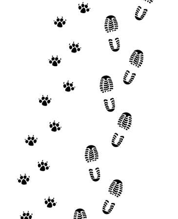police dog: foot prints of man and dog