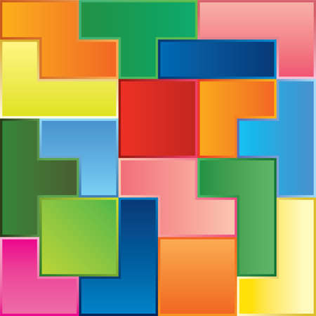 combination: tetris game pieces fit together Illustration