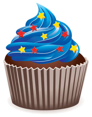 1 object: vector blue cupcake with star sprinkles Illustration