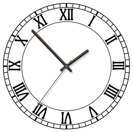 horloge ancienne: cadran d'horloge vectorielle avec des chiffres romains Illustration