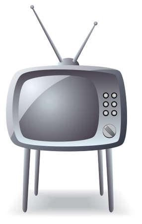 vector gray retro tv set on legs Stock Vector - 6573242