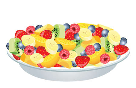 fruit salad of kiwi, strawberry, blueberry, raspberries, banana, orange and peach Vector