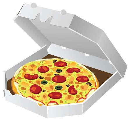 italian pizza in paper box Vector