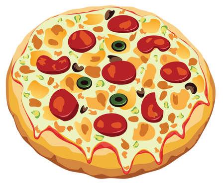 Italian pizza on white background Stock Vector - 6599610