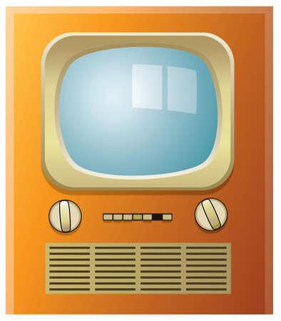 retro tv set with blue screen Vector