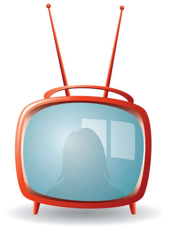 television screen:  red retro tv set