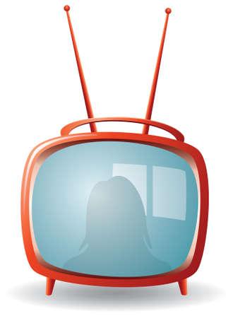 show home:  red retro tv set