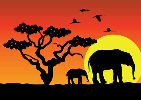 elephants in africa Stock Vector - 6651913