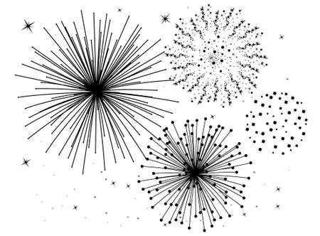 feu d artifice: black and white fireworks background