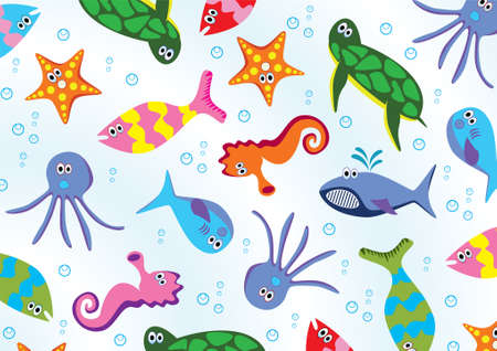 sea animals background Stock Vector - 6651982