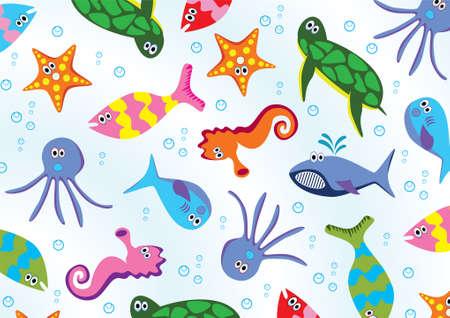 sea animals background Vector