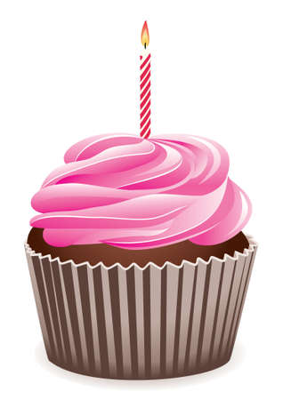 vector cupcake with burning candle Vector