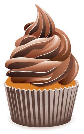 vector chocolate cupcake Vector