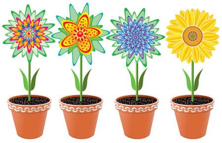 vector flowers in pots Vector