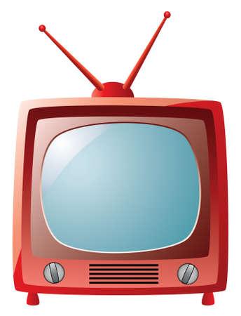 tv screen: vector red retro tv set Illustration