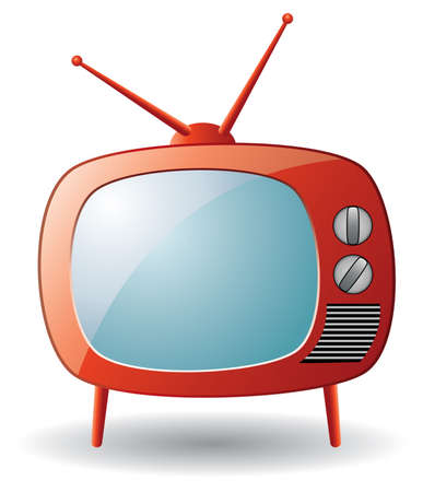 cable TV: vector red retro tv set Illustration
