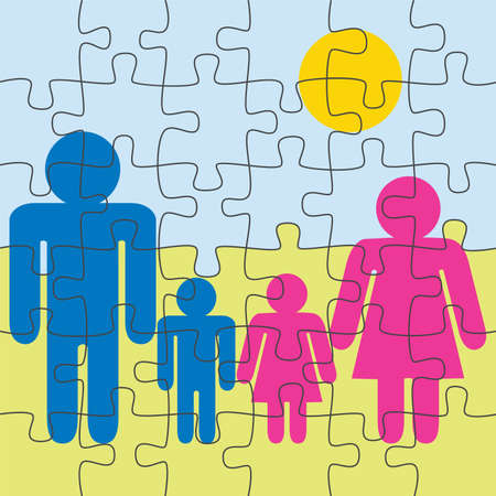 family puzzle game background Vector