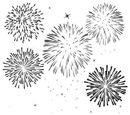zwart-wit vuurwerk achtergrond  Vector Illustratie