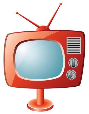 red retro tv set Stock Vector - 6780878