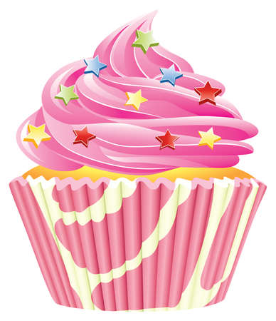 chocolate sprinkles:  pink cupcake Illustration