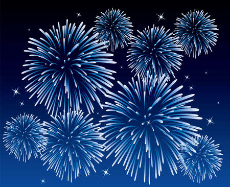 blue fireworks background  Vector