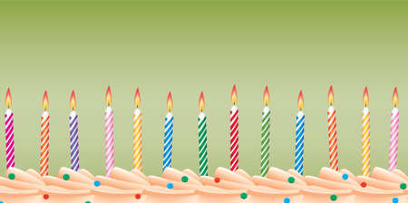 row of birthday candles on cake Stock Vector - 6780910