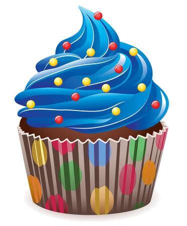 torta panna: cupcake blu con sprinkles  Vettoriali