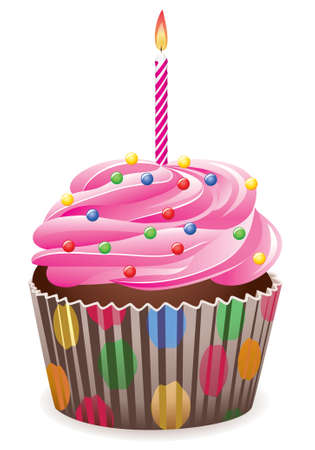 orange cake: pink cupcake with burning candle Illustration