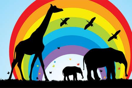 giraffe and elephants in africa Stock Vector - 6870898
