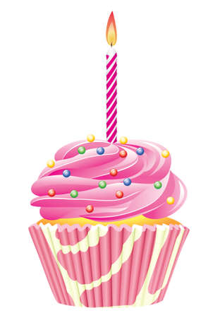 cupcake with burning candle Vector