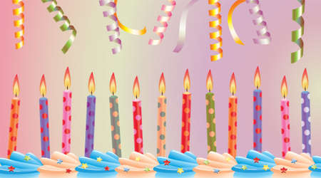 row of birthday candles on cake and streamers Stock Vector - 6870900