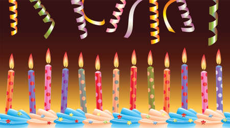 sprinkle: row of birthday candles on cake and streamers