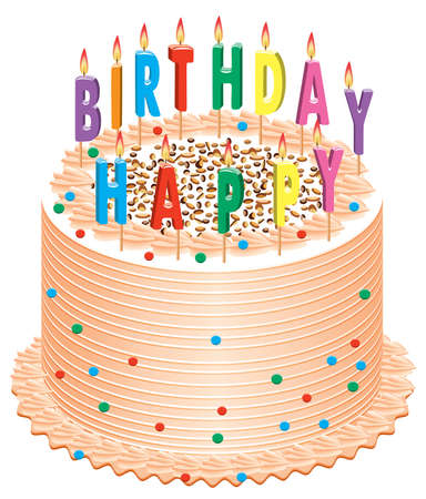 vector birthday cake with burning candles Stock Vector - 7013656