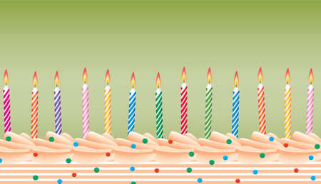 vector row of birthday candles on cake Stock Vector - 7013651