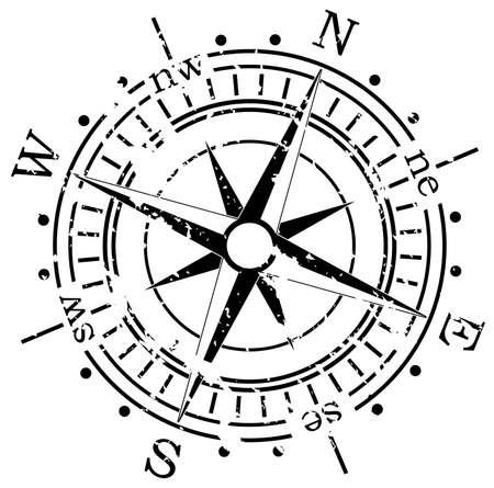 grunge vector compass  Illustration