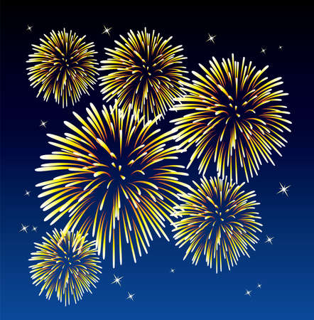 vector yellow fireworks background  Vector