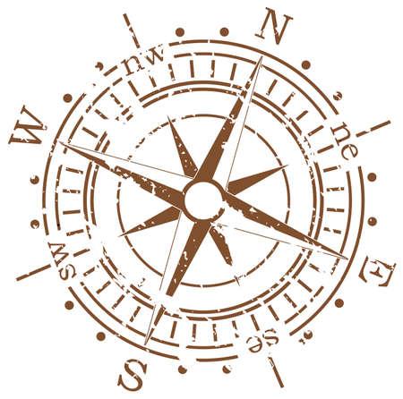 norte: brújula de vector de grunge