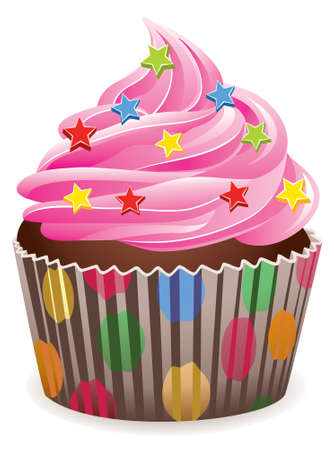 vector pink cupcake with sprinkles Stock Vector - 7013644
